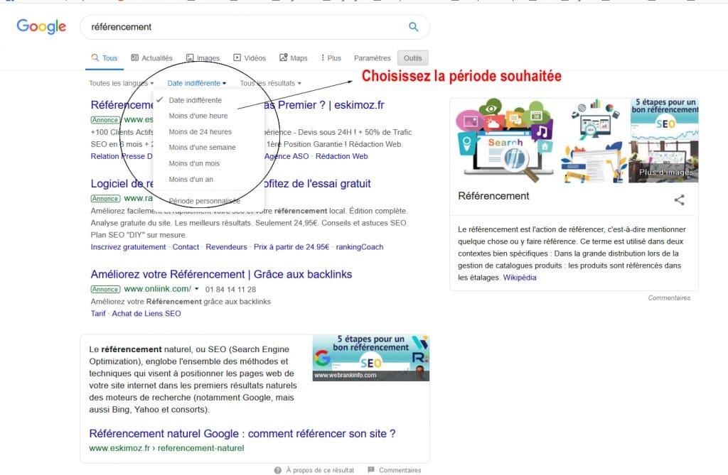 ordonner les résultats chronologiquement d'une recherche Google