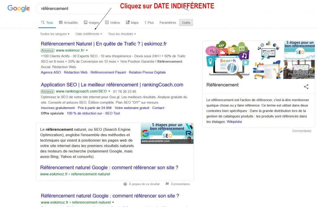 Effectuer une recherche Google par date