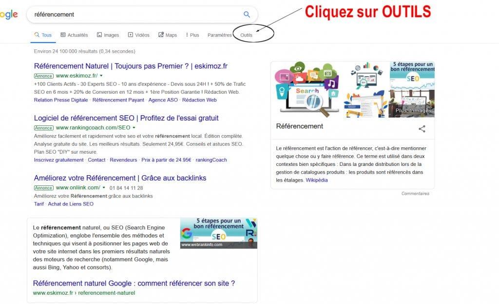 Effectuer une recherche Google dans une période donnée